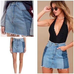 Lulu's Two Tones Distressed Raw Hems Denim Skirt